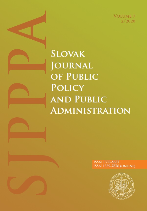 View Vol. 7 No. 2 (2020): Slovak Journal of Public Policy and Public Administration